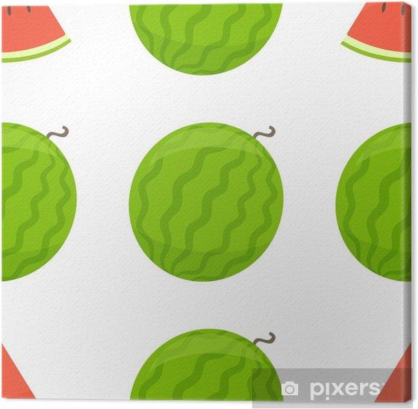 Canvas Naadloze patroon van watermeloen, cartoon afbeelding. vector - Eten