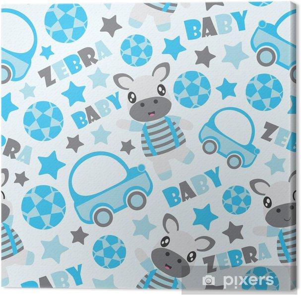 Baby Behang Jongen.Canvas Naadloze Patroon Van Zebra Jongen En Speelgoed