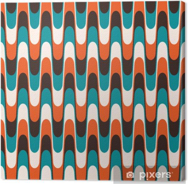 Canvas Naadloze vintage golvende patroon in halverwege de eeuw stijl. - Grafische Bronnen