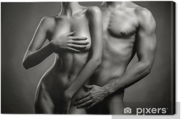 Canvas Naakt sensuele paar - Naaktheid