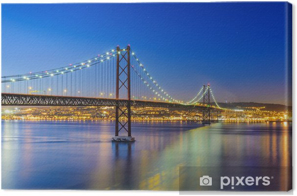 Canvas Nacht uitzicht van Lissabon en van de 25 de Abril Bridge, Portugal - Thema's