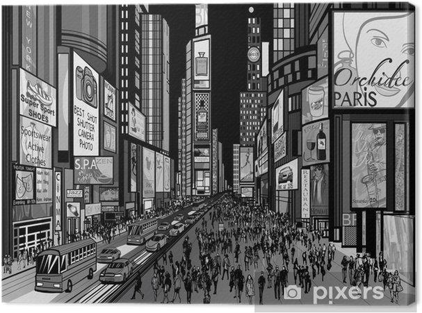 Canvas New York - avond uitzicht van Times Square - Amerika