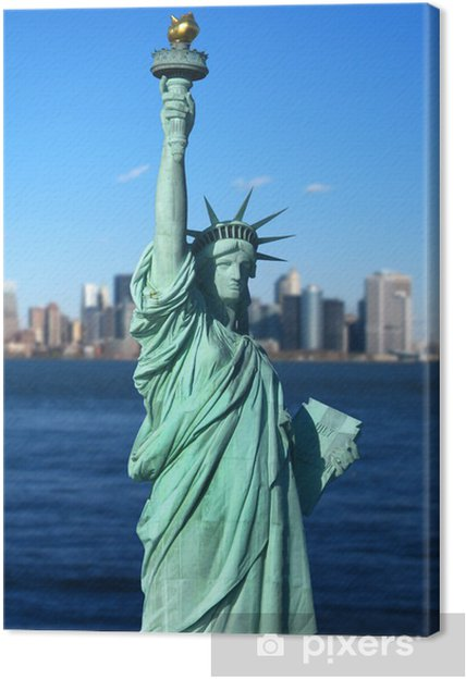 Canvas New York: The Statue of Liberty, een Amerikaans symbool. VS - Amerikaanse steden