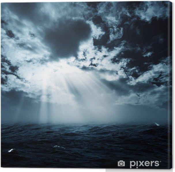 Canvas Nieuwe hoop in de stormachtige oceaan, abstracte milieu-achtergronden - Water