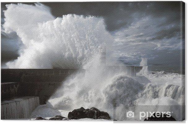 Canvas Noord-Atlantische stormachtige golven - Water