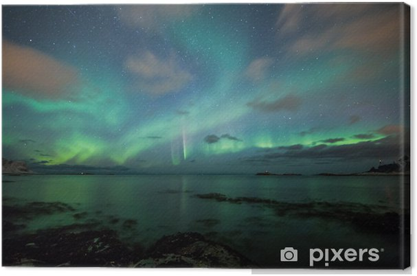Canvas Noorderlicht boven een strand in Noorwegen - Thema's