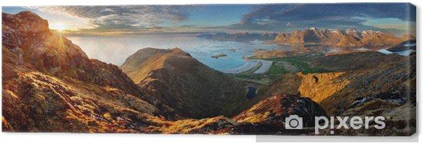 Canvas Noorwegen Landschap panorama met bergen en de oceaan - Lofoten - Thema's