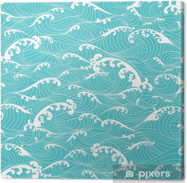 Canvas Oceaangolven, strepenpatroon naadloze hand getekende Aziatische stijl - Grafische Bronnen
