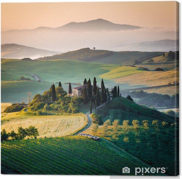 Canvas Ochtend in Toscane, landschap en de heuvels -