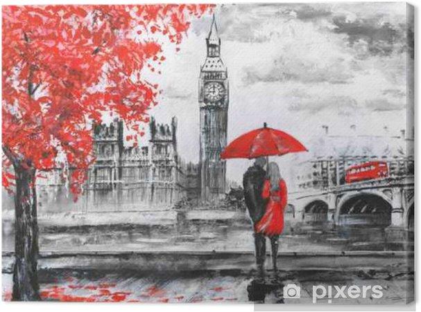 Canvas Olieverf schilderij op doek, uitzicht op straat van Londen, de rivier en de bus op de brug. Artwork. Big Ben. man en vrouw onder een rode paraplu - Reizen
