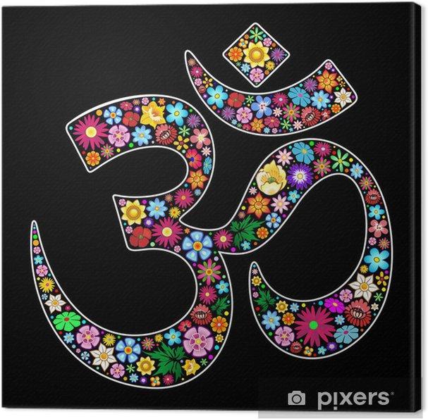 Canvas Om Aum Namaste Yoga Symbool Floral Art Design - Religie