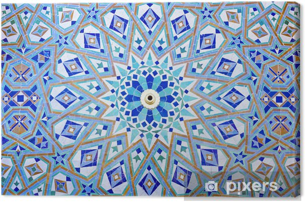 Canvas Oosterse Mozaïek bij de moskee Hassan II in Casablanca, Marokko - Marokko