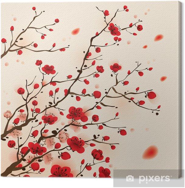 Canvas Oosterse stijl schilderen, pruim bloesem in het voorjaar - Stijlen