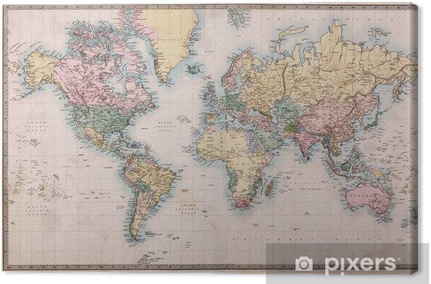 Canvas Oude Antieke Kaart van de Wereld op Mercators Projectie -