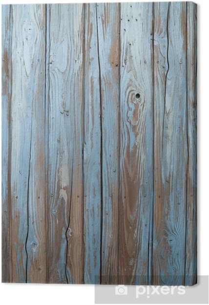 Canvas Oude blauwe houten muur -