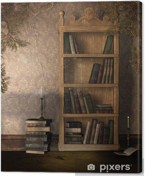 Canvas Oude boekenkast • Pixers® - We leven om te veranderen
