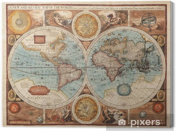 Canvas Oude kaart (1626) -