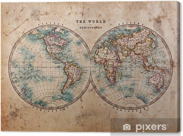 Canvas Oude Kaart van de Wereld in Hemisferen - Thema's