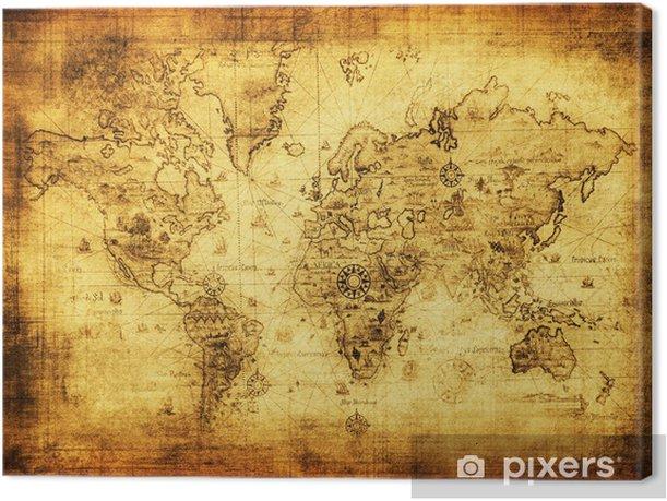 Canvas Oude kaart van de wereld -