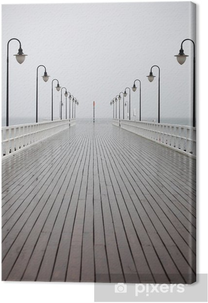 Canvas Oude pier in de regen op de Baltische zee Orlowo Gdynia Polen - Thema's