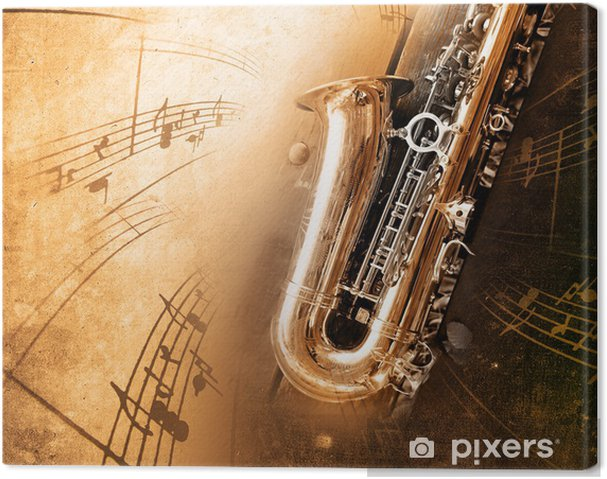 Canvas Oude Saxofoon met vuile achtergrond - jazz