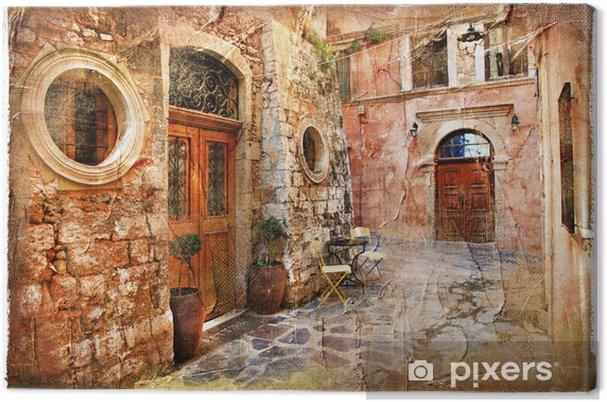 Canvas Oude straten van griekenland - artistieke retro piture - Thema's