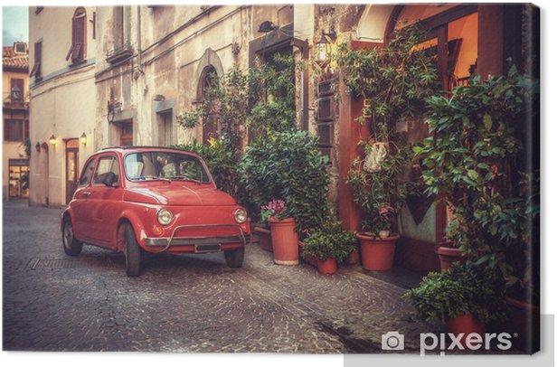Canvas Oude vintage cult auto geparkeerd op de straat van het restaurant, in - Thema's