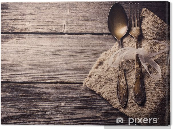 Canvas Oude vork en lepel op houten achtergrond - Thema's