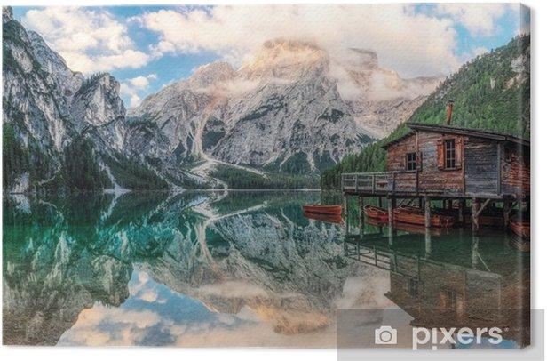 Canvas Paalwoning op een meer - Landschappen