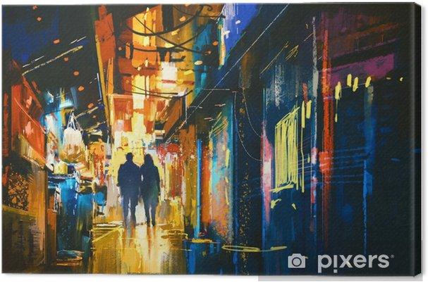Canvas Paar wandelen in steegje met kleurrijke lichten, digitaal schilderen - Landschappen