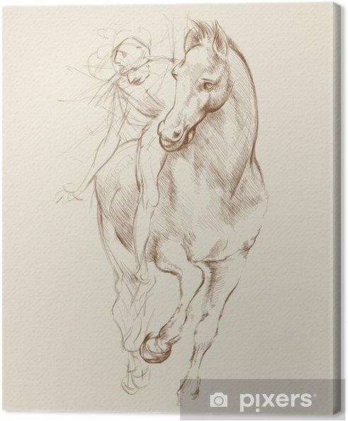 Canvas Paard en ruiter. Gebaseerd op tekening van Leonardo da Vinci - Thema's