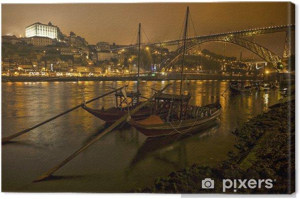 Canvas Panorama oude Porto aan de rivier Douro en de brug - Europa