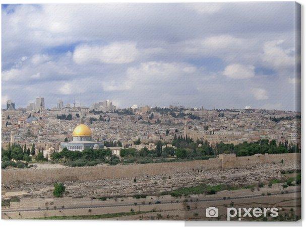 Canvas Panorama van de Heilige Stad met onderscheidende cuppola van de moskee. - Midden Oosten