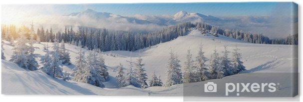Canvas Panorama van de winter de bergen - Thema's
