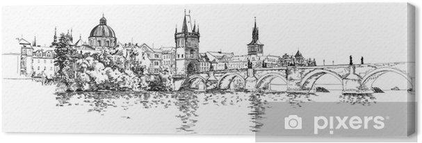 Canvas Panorama van Praag. Uitzicht op de Karelsbrug en de rivier de Moldau - Praag