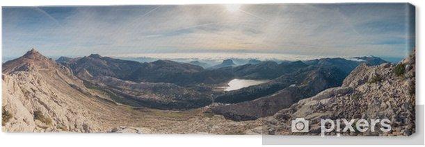 Canvas Panoramisch landschap van bergen en zee van wolken in serra de tramuntana, de hoogste hoogste berg van puig in het eiland van Majorca, Spanje - Landschappen