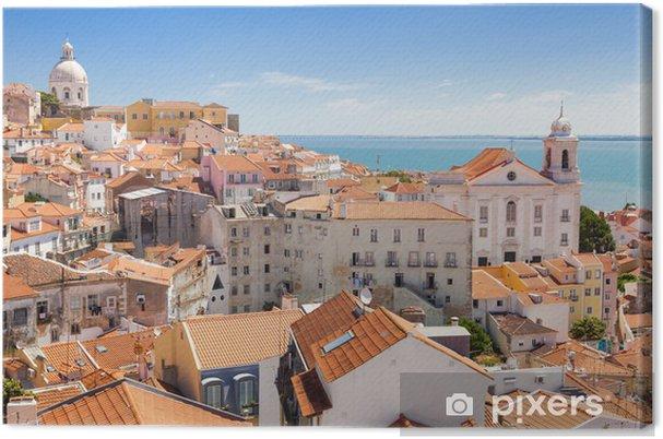 Canvas Panoramisch van Alfama daken, Lisboa, Portugal - iStaging