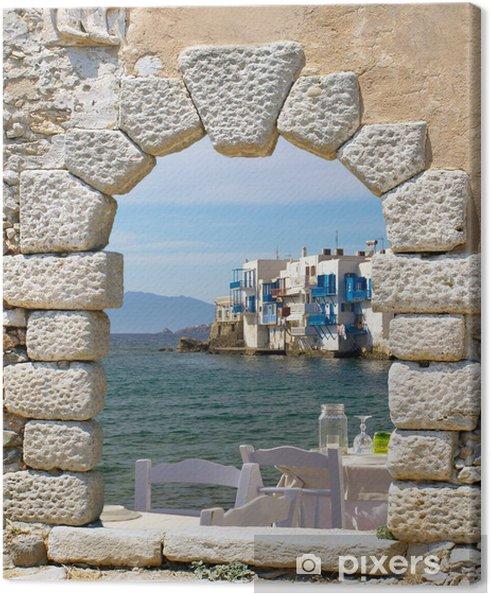 Canvas Panoramisch zicht van kleine Venetië op het eiland Mykonos, Griekenland - Thema's