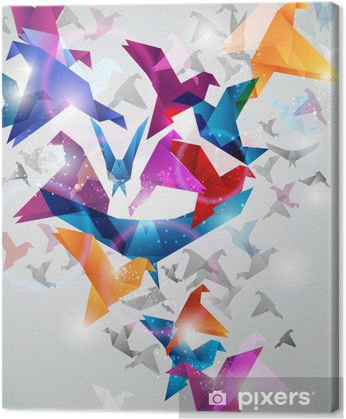 Canvas Papier Flight. Origami vogels. Abstract Vector Illustratie. - Stijlen