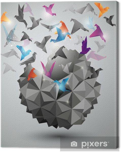 Canvas Papier Vrijheid, Origami abstracte vector illustratie. - Thema's