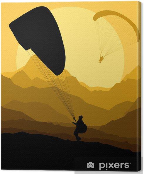 Canvas Paragliding vector achtergrond landschap begrip vector - Andere Gevoelens