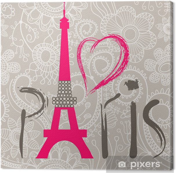 Canvas Paris letters boven kant naadloos patroon - Thema's