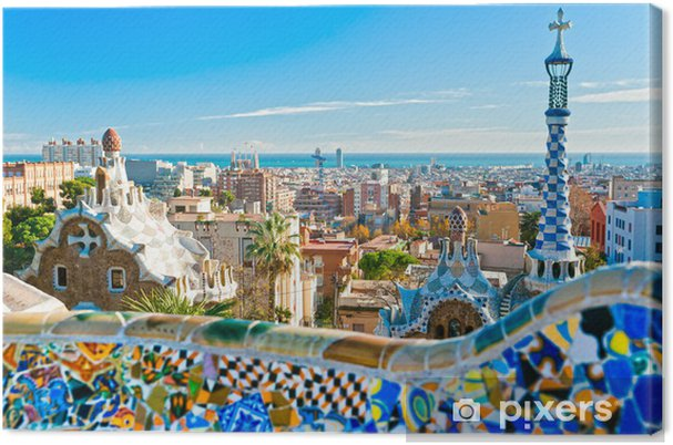 Canvas Park Guell in Barcelona, ​​Spanje. - Thema's