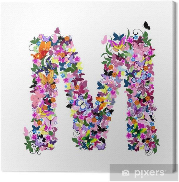 Canvas Patroon brief van vlinders en bloemen - Kunst en Creatie