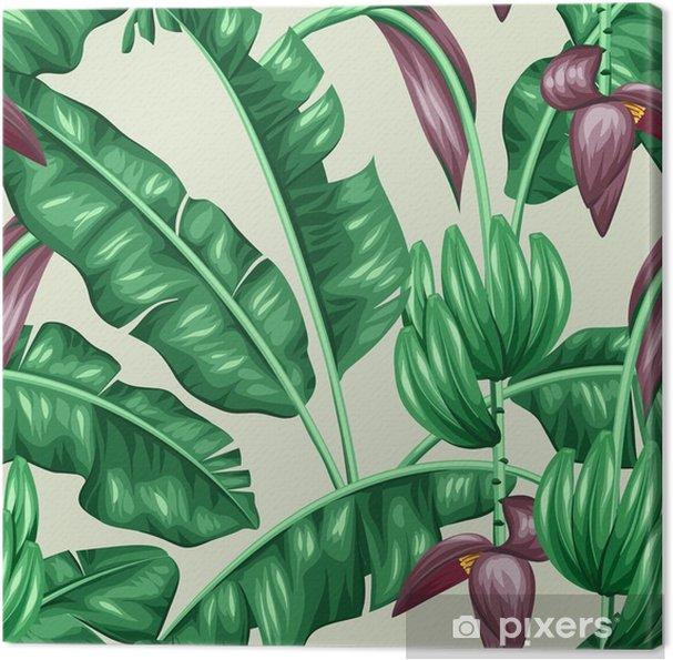 Canvas Patroon met groene bananenbladeren - Bloemen en Planten