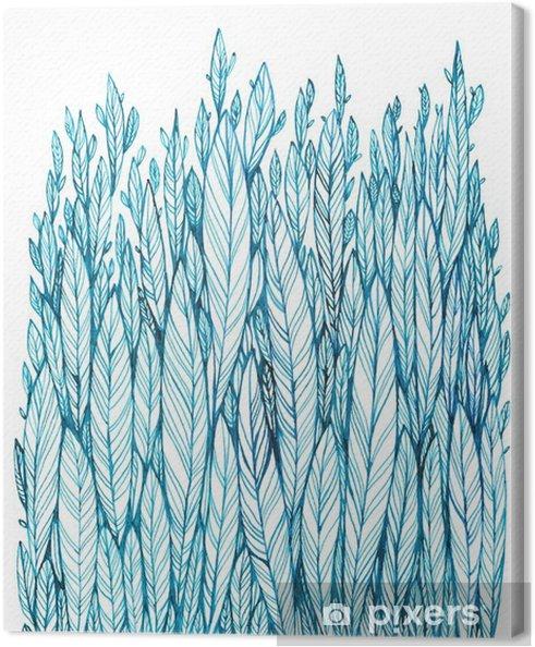 Canvas Patroon van blauwe bladeren, gras, veren, waterverf inkttekening - Bloemen en Planten