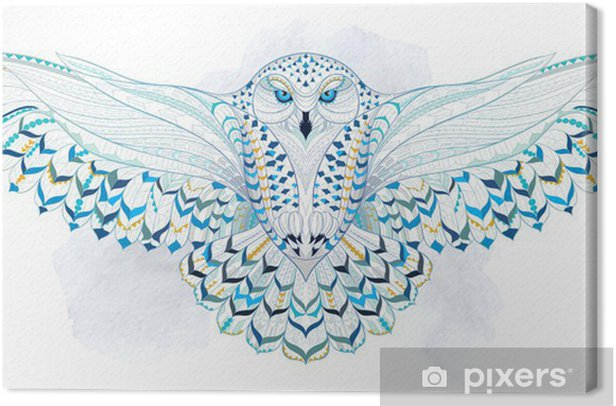 Canvas Patterned snowy owl on the grunge background. Indian / totem / tattoo design. It may be used for design of a t-shirt, bag, postcard, a poster and so on. - Vogels