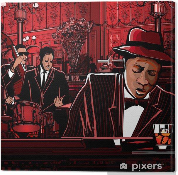 Canvas Piano-jazz band in een restaurant - jazz