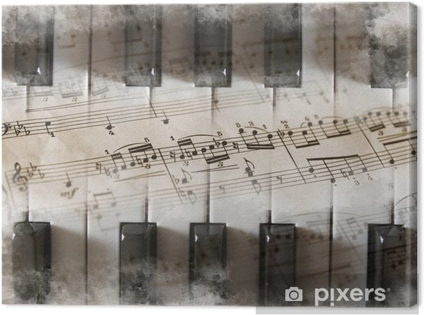 Canvas Piano toetsen, bladmuziek, muzieknoten - piano