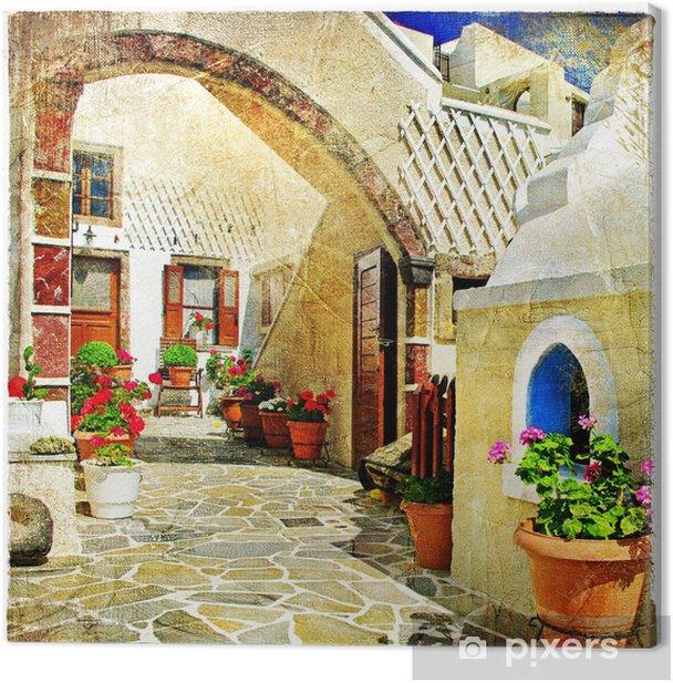 Canvas Picturale straten van Santorini - Thema's